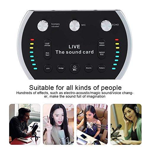 Tarjeta de sonido, GODLIKE tarjeta de sonido B5 Live con mezclador sonido portátil portátil, dispositivo cambiador de voz para PS4 / Xbox/teléfono/iPad/computadora, micrófono de estudio Karaoke.