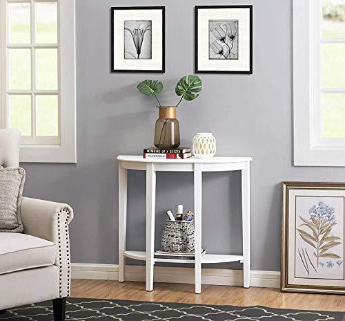 HYGRAD BUILT TO SURVIVE Half Moon Console Table Hallway 1 Shelf Storage Furniture Unit Table White/Grey (White)