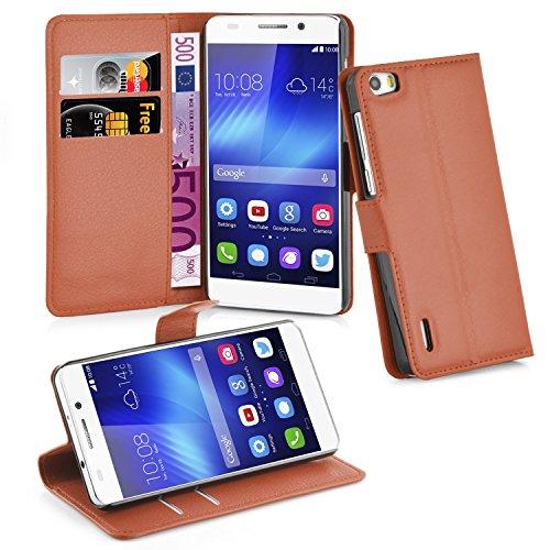 Hülle für Honor 6 - Hülle in Schoko BRAUN – Handyhülle mit Kartenfach und Standfunktion - Case Cover Schutzhülle Etui Tasche Book Klapp Style