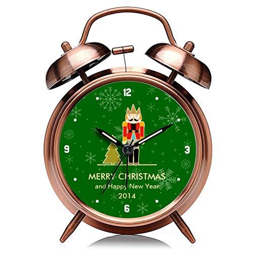 GIRLSIGHT Reloj de Navidad de cobre retro silencioso con luz nocturna doble campana despertador 166.Christmas Snowflake – Cascanueces de Navidad