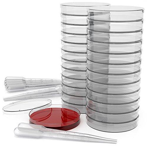 Juego de placas de Petri de plástico estéril de 90 mm x 15 mm con tapa, ventilado (paquete de 25) - Viene con 10 pipetas de transferencia de plástico (3 mm)