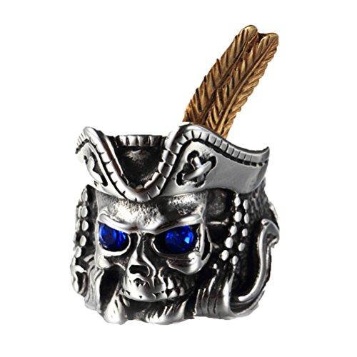 PAURO Hombres Acero Inoxidable Punk Azul Ojos Pluma Atascado Estilo Pirata Cráneo Cabeza Anillo Taille 14