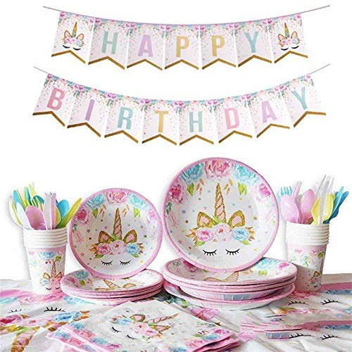 NALCY Unicornio Party - Juego de cumpleaños, taza, servilletas, platos, bolsas, sombrero,...