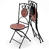 Deuba Set de 2 Sillas mosaico Roma asiento de cerámica plegables 36x45x94cm para balcón jardín terraza patio