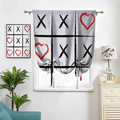 Roman Curtains Room Darkening Thermal Insulated Simplistic Love Game and Happy W48 x L64 Balloon Curtains for Bedroom Kitchen Living Room