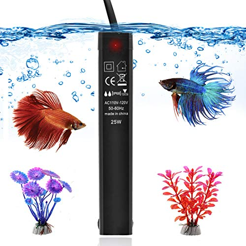 Visit the 25W Betta Fish Tank Heater, Smart Thermostat Submersible Small Mini Aquarium Heater, Anti-Explosion/Energy-efficient Water Temp Controller Easy to Use for 1-5 Gallon - Gift with 2 Artificial Plants on Amazon.