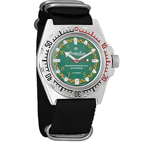 Vostok Militar Ruso Diver para Hombre de Anfibios Amphibia Reloj de Pulsera Negro Nailon # 11439