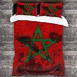 ZUL 3D Juego Funda De Diseño Personalizado,Bandera de Marruecos en el Viejo WAL,Ropa de Cama Set 1 Edredón 2 Fundas de Almohada Microfibra jueg,200 * 200cm*1
