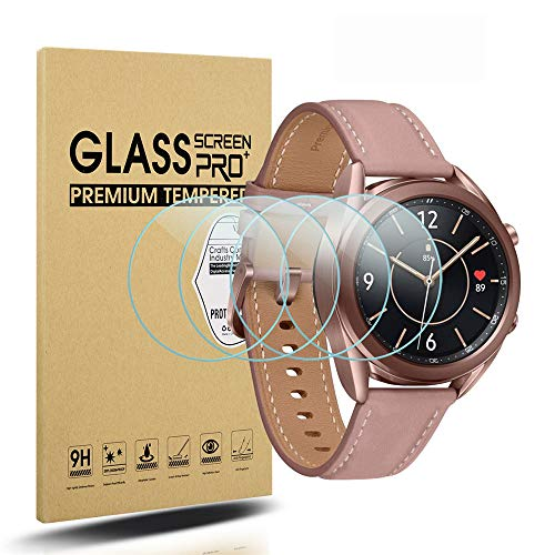 Diruite 4 Stück Panzerglas für Samsung Galaxy Watch 3 41mm Schutzfolie,HD Glas Displayschutzfolie für Samsung Galaxy Watch 3 Intelligente Uhr