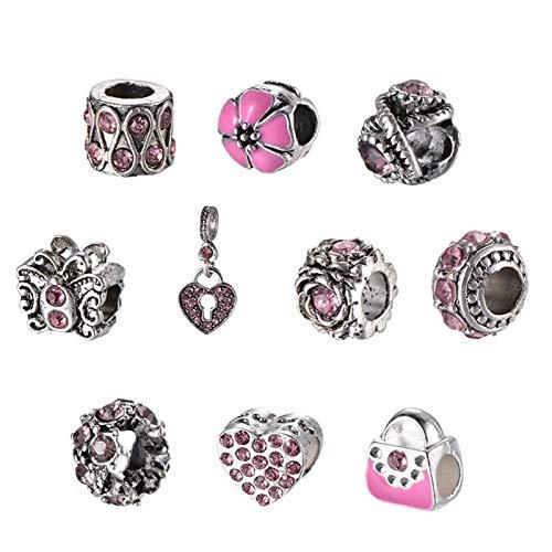 PandaHall 10 piezas de aleación de diamantes de imitación europeos de formas mixtas rosa agujero grande corazón flor espaciador encanto cuentas, 10 ~ 26 x 9 ~ 12 mm