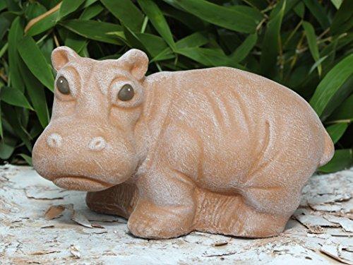 Steinfigur Nilpferd - Terrakotta, Hippo, Garten, Deko, Stein, Figur, Frostsicher