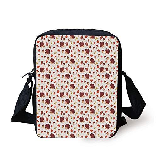 FAFANIQ Mushroom,Cute Autumn Inspired Pattern with Natural Elements Hedgehogs Acorns and Apples Decorative,Multicolor Print Kids Crossbody Messenger Bag Purse