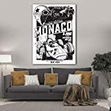 LWJZQT Leinwanddrucke Große Größe Vintage Vektor Monaco