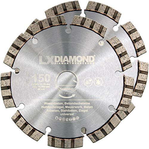 LXDIAMOND 2x Diamant-Trennscheibe Ø 150mm x 22,23mm PREMIUM Turbo Beton Stein Mauerwerk passend für Diamantfräse Schlitzfräse Mauernutfräse Mauerschlitzfräse Wandfräse Diamantscheibe 150 mm