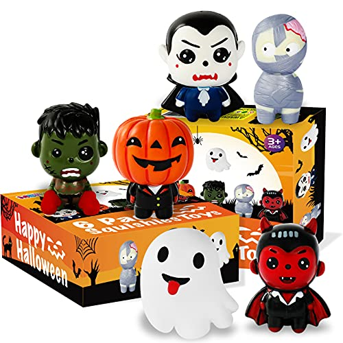 MGparty 6 Packs Halloween Squishies Toys Slow Rising Pumpkin, Ghost, Vampire, Bat, Mummy, Zombie Boy Soft Squishies Toys Set for Kids, Girls, Boys, Party Favors Stress Relief Toys