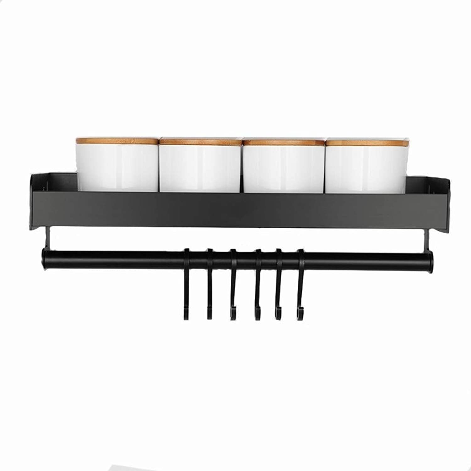 Spice Rack- Punch Corner Kitchen Shelf Wall-Mounted Storage Rack Knife Holder redating Seasoning Shelf Space with Hook ZXMDMZ (Size   50)
