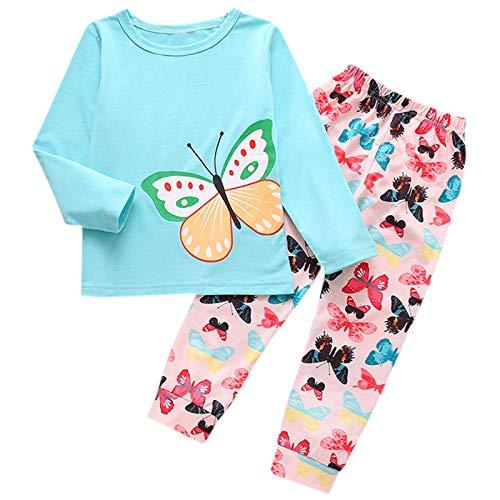 Ropa Bebé Niñas Niños Conjuntos Camiseta de Manga Larga con Estampado de Mariposas Top + Pantalones Homewear Set Pijamas Navidad San valentín Invierno (Blue, 100)