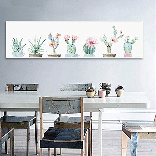 Canvas Olieverf Print Poster Woondecoratie Nordic 1 Stuk Bloem Cactus Modulaire Plant Muur Woonkamer Foto 35x120 cm Geen Frame