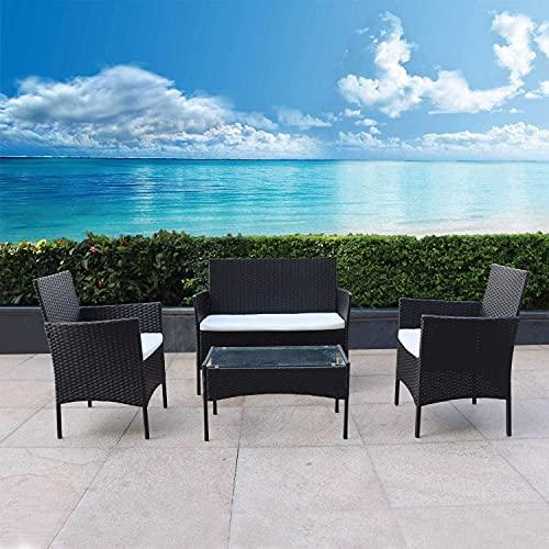 bigzzia Juego de muebles de jardín de ratán trenzado, 4 piezas, incluye 2 sillones, 1 sofá doble y 1 mesa