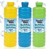 KreativeKraft Liquido Pompas de Jabon, Pack de 3 Botellas para Hacer Burbujas de Jabon Niños, Apto...