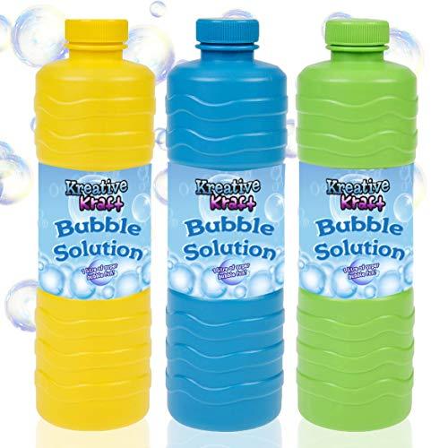 KreativeKraft Ricarica Bolle di Sapone Bambini, Bottiglia Refill 1 Litro di Liquido per Fare Bubbles Universale per Macchina Bolle Giganti E Festa, Giochi da Giardino per Bambini, Confezione da 3