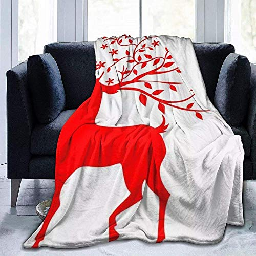DWgatan Couverture,Jeté de lit Super Chaud en Polaire Easy Care,100% Polyester léger canapé Confort Enfants, Chambre à Coucher,Red Elk Printed Blanket for Bedroom Living Room Couch Bed Sofa -60\