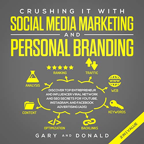 Crushing It with Social Media Marketing and Personal Branding in 2019     Discover Top Entrepreneur and Influencer Viral Network and SEO Secrets for YouTube, Instagram, and Facebook Advertising (Ads)              By:                                                                                                                                 Gary Donald                               Narrated by:                                                                                                                                 Tom Mealer                      Length: 6 hrs and 43 mins     30 ratings     Overall 4.8