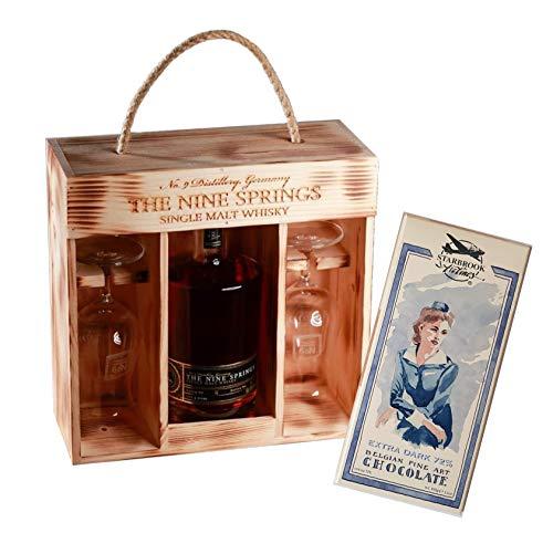 Whisky Geschenkset-The Nine Springs Single Malt in Holzkiste mit Zartbitterschokolade