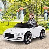 HOMCOM Coche Eléctrico para Niños 2 Modos de Control con Música Faros Brillantes Retroceder Bentley GT Licencia +3 Años Automóvil Infantil 108x60x43 cm Blanco