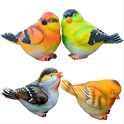4-PC Pájaro Modelo Ornamento Escultura Resina Estatua Bonsai Jardín Patio Artesanía Doméstica Oficina Sala De Estar Escritorio Entrada Porche MUMUJIN