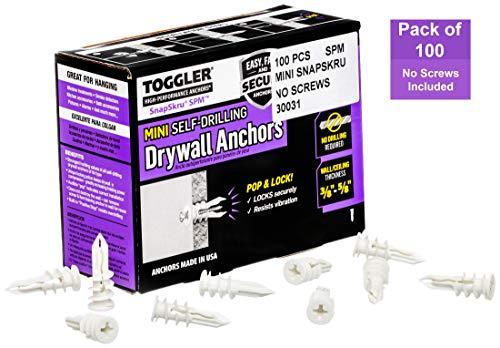 Toggler Gipskartondübel SP Mini (für Plattenstärke 9,5-15 mm, selbstbohrender Dübel, Schraubendurchmesser 3,5-4 mm, 100 Stück) 30031