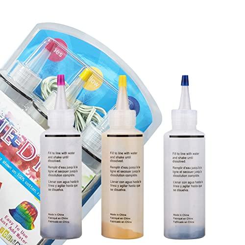 Kstyhome Kit de teñido anudado en 3 colores Juego de tinte textil para tela de bricolaje 3 botellas de tinte con cubierta de mesa Delantal Bandas de goma Gua-ntes para Escuela Actividades artísticas