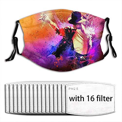 liangchunmei Wiederverwendbarer Mundschutz mit austauschbarem Filter Aktivkohle-Softcover, Michael Jackson mit 10 Filtern
