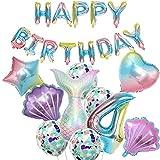 Globo de 4º cumpleaños, decoración de sirena, gran sirena, decoración de 4º cumpleaños, decoración de 4 años, decoración de fiesta para niñas