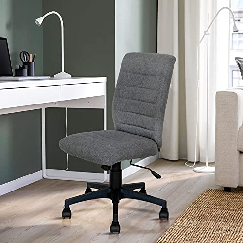 Scurrty Armless Office Chair Ergonomic Mid Back Home Desk Chair Mesh Swivel Lumbar Support Rolling Swivel Computer Chair Task Chair Adjustable Height for Adults and Kids No Armrest for Small Spaces