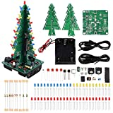 IS 3D Christmas Tree DIY Soldering Practice Kits, Electronic Circuit Solder Assemble Kit, STEM Project for Student Teens, Music Audio Spectrum Light(3 Colors)