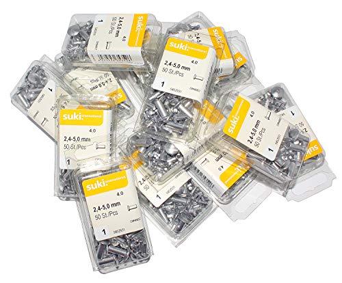 6200 Stück, (124 Päckchen) Alu Linsennieten 2,4mm - 5,00mm, DIN 662,