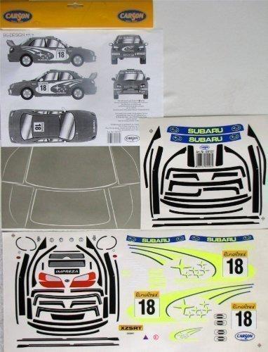 Carson Feuille décorative 1:10 Subaru Impreza Rallye Sticker 69181 Décoration de véhicule , Idéal pour déplacement
