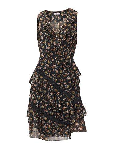 Linea Tesini Designer-Chiffon-Wickelkleid schwarz-bunt Größe 42