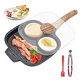 Sartén Cuadrada, Sartén Tortilla con Tapa Sartén Antiadherente de 3 Agujeros de Aluminio para Desayuno, Hamburguesa, Jamón, Huevos, Para Estufas de Gas y Cocinas de Inducción