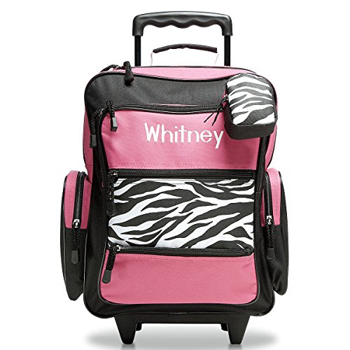 Personalized Rolling Luggage for Kids – Hot Pink & Zebra Print Design, 5' x 12' x 16.75'H, By Lillian Vernon