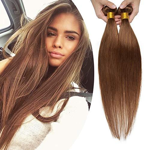 Benehair Human Hair Bundle Weft Sew in Natural Hair Light Brown 1 Bundle 16 inch Silky Straight Unprocess Brazilian Soft Long Virgin Hair Weave for Afro American Black Women #6 100g