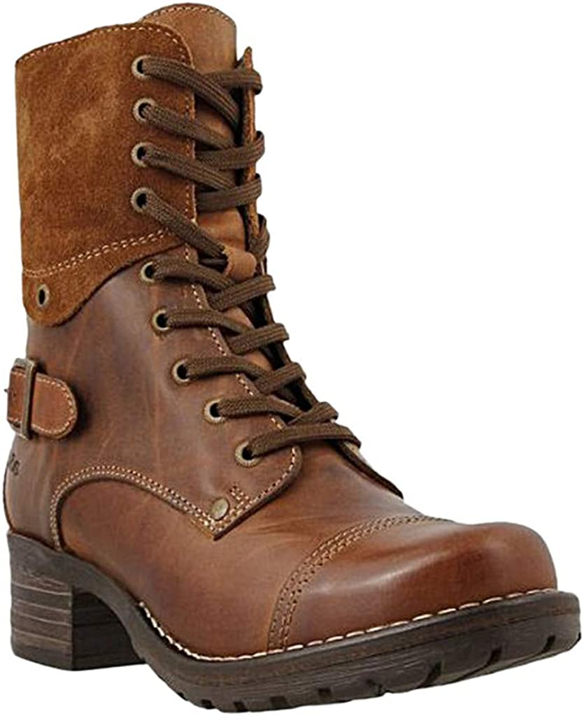 ZBYY Women's Military Combat Boots Lace Up Ankle High Low Chunky Heel Boots Pockets Buckle Strap Mid Ankle Boots
