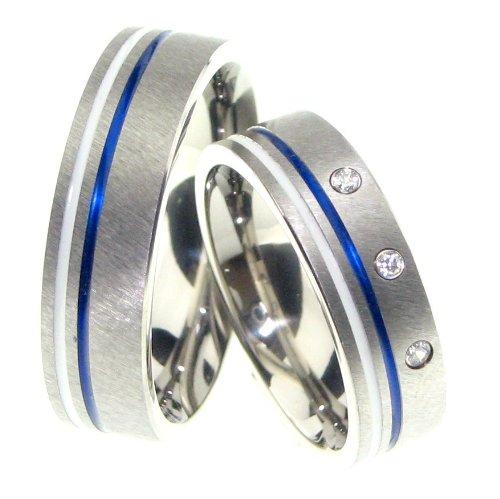 Trauringe Eheringe Keramik Blau/Weiß mit Diamanten ERKBW11BRF315(Paarpreis)