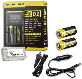Combo: Nitecore Digi Charger D2 w/2x NL166 RCR123A Batteries +Car & Wall Adaptors +Free Eco-Sensa Battery Case