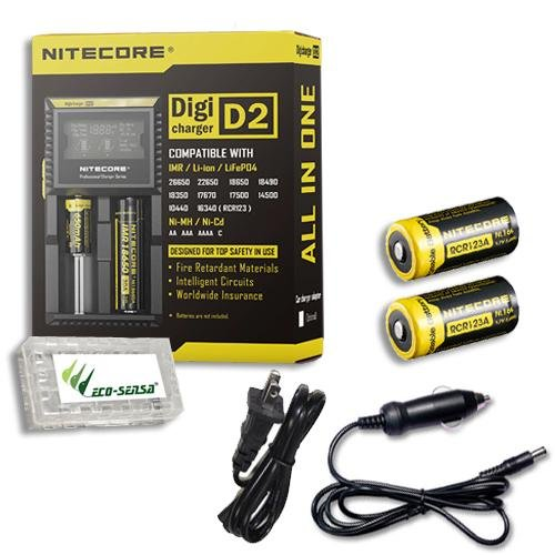 Nitecore D4 smart Charger 2015 version with LCD Display with 12V DC Cable /& 2X EdisonBright AA to D Battery Converter Spacers