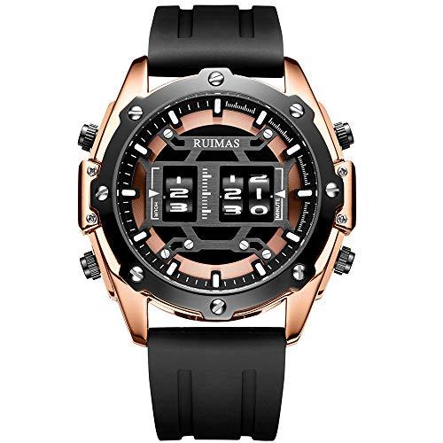 Ruimas Army Sports Quartz Watches Men Fashion Silicone Strap Watch Man Luxury Roller Drum Wristwatch Male