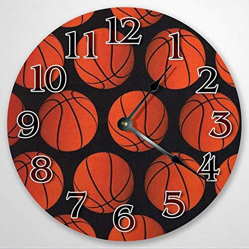 Reloj de pared con patrón de baloncesto, reloj deportivo para dormitorio, regalo de cumpleaños, reloj de pared de madera, funciona con pilas, decoración de pared de granja, decoración del hogar