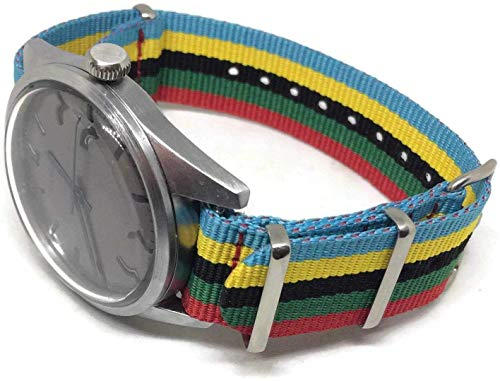G10 Zulu Watch Strap Rainbow Colours 18mm and 20mm Brushed Stainless Steel...