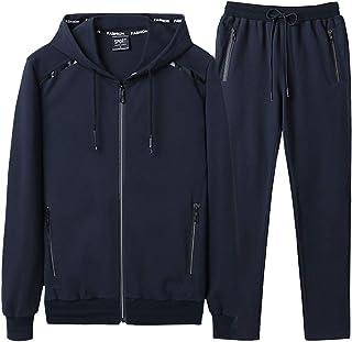 Goorape Men's Athletic Tracksuit Bomber/Hoodie Jackets & Pants Set Jogging Sweatsuit Big